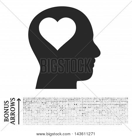 Lover Head icon with 1200 bonus arrow and navigation pictograms. Glyph illustration style is flat iconic symbols, gray color, white background.