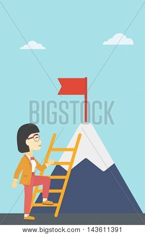 An asian business woman standing with ladder near the mountain. Business woman climbing the mountain with a red flag on the top. Vector flat design illustration. Vertical layout.