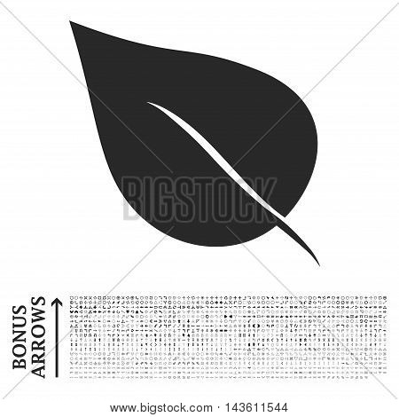 Plant Leaf icon with 1200 bonus arrow and direction pictograms. Glyph illustration style is flat iconic symbols, gray color, white background.