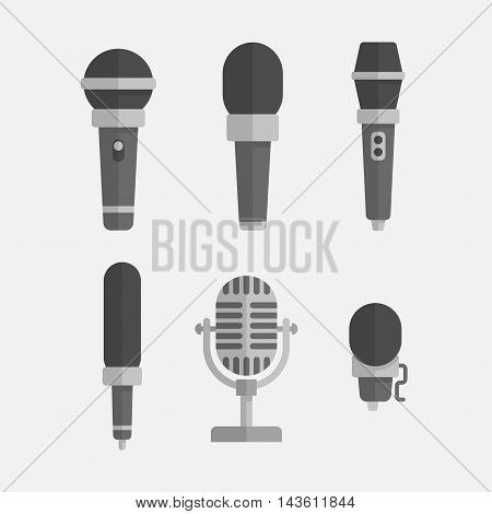 Microphones vector set in a flat style isolated from the background. Icons to illustrate an interview podcast reportage song or music. Old and modern microphones.