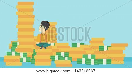 An asian  young businessman sitting on stack of gold coins and looking up to the biggest one. Successful business concept. Vector flat design illustration. Horizontal layout.