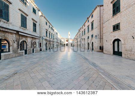 Stradun popular pedestrian street in Dubrovnik Croatia