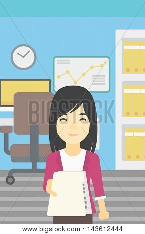 An asian  young business woman giving a resume in office. Woman giving to the employer her curriculum vitae. Job interview concept. Vector flat design illustration. Vertical layout.
