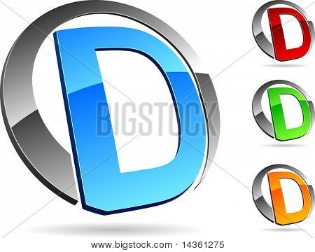 """Letter """"D""""  3d vector icons such logos."""