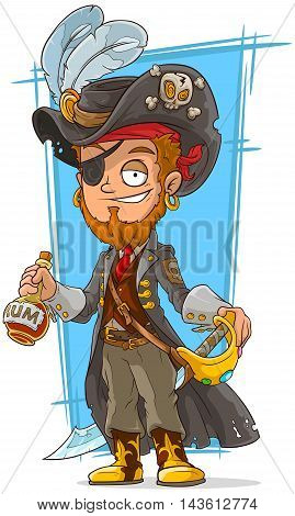 A vector illustration of cartoon bearded pirate with rum