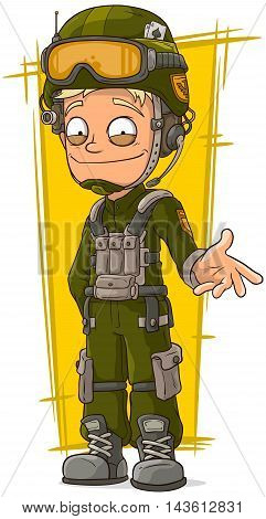 A vector illustration of cartoon blond soldier in green uniform