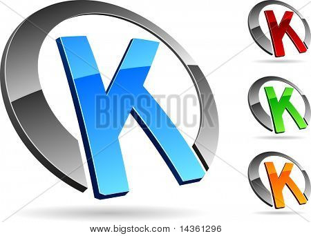 "Letter ""K"" 3d vector icons such logos."