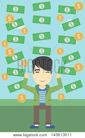 An asian  young businessman with raised hands standing under money rain. Successful business concept. Vector flat design illustration. Vertical layout.