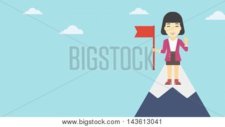 An asian  happy young leader business woman holding a red flag on the top of the mountain. Successful business concept. Vector flat design illustration. Horizontal layout.