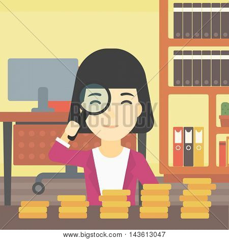 An asian business woman sitting in the office and looking at stacks of golden coins through magnifier. Vector flat design illustration. Square layout.