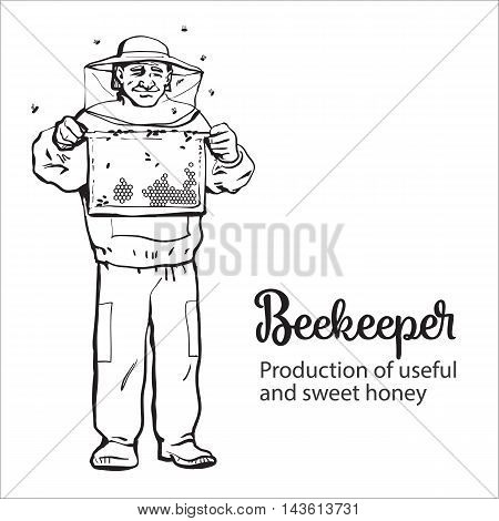 Beekeeper in protective gear holding honeycomb grid, sketch style vector illustration isolated on white background. Apiarist in protective suit working at the apiary