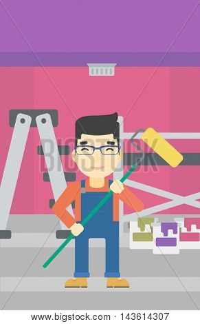 An asian painter in uniform with a paint roller in hands. Painter at work in an apartment with paint cans and ladder. Vector flat design illustration. Vertical layout.