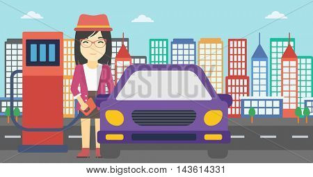 An asian woman filling up fuel into the car. Woman standing at the gas station and refueling a car. Vector flat design illustration. Horizontal layout.