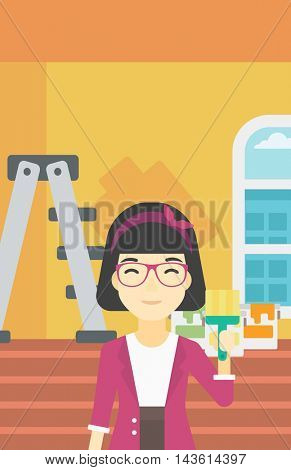An asian female painter holding a paint brush. Painter painting walls with paint brush at home. House renovation concept. Vector flat design illustration. Vertical layout.