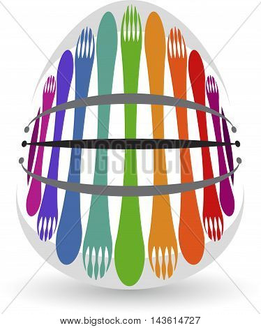 Illustration art of a fork spoon logo with isolated background