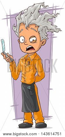 A vector illustration of cartoon crazy haircutter in orange uniform