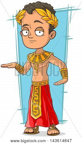 A vector illustration of cartoon Egyptian with golden crown