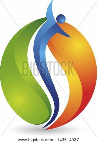 Illustration art of a people flame logo with isolated background