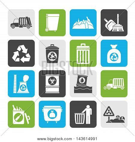 Silhouette Garbage, cleaning and rubbish icons - vector icon set
