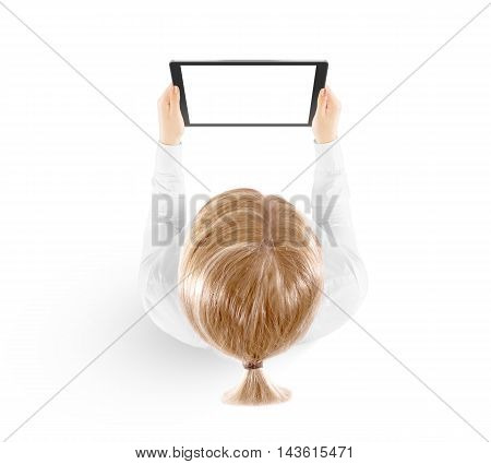 Woman hold tablet pc mockup in hand top view isolated on white. Black mobile ebook mock up holding in female hands from above. Blank tablet screen monitor. Clear horizontal display booklet person