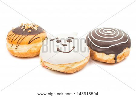 creative donuts dessert on a white background