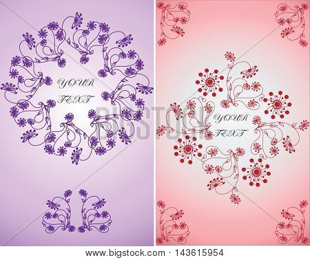 Invitation for celebration.Vector floral ornament in lilac and pink backgrounds. background. Easy to edit. Perfect for invitations or announcements.