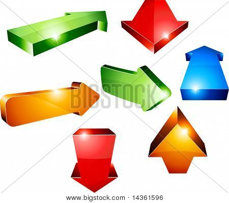 Shiny 3d arrows. Vector illustration.