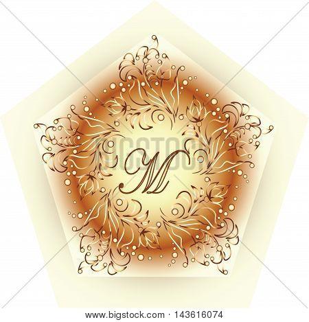 Monogram design M. Simple and graceful monogram design template, Elegant lineart logo design, vector illustration. Vintage Style
