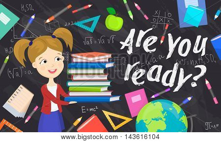Back to school background cartoon vector illustration. Back to school concept. School girl with textbooks. Elementary school. Classroom interior. School chalkboard.