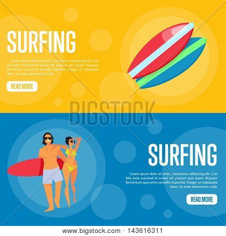 Surfing vector illustration. Young happy couple with red surfboard walking on blue background. Colorful surfboards on orange background. Summer vacation. Website template. Flat design banner