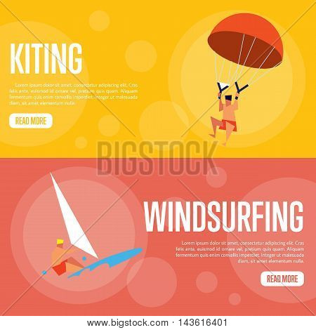 Kiting and windsurfing vector illustration. Surfer riding on waves on red background. Man kiting with parachute on orange background. Extreme sea sports. Summer vacation. Flat design banner. Kite concept. Windsurfing illustration