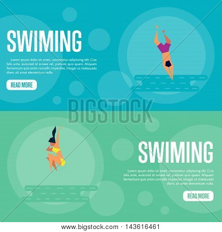 Swiming vector illustration. Man jumping into sea, swimming man on blue background. Girl jumping into sea, swimming girl on green background. Summer rest. Website template. Flat design banner