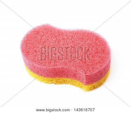 Red and yellow colored bath sponge isolated over the white background
