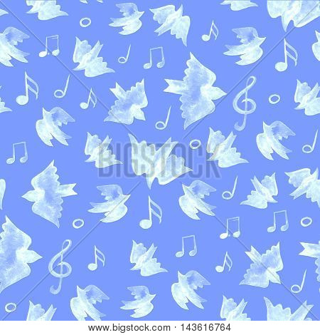 Bird seamless pattern, spring background with singing birds
