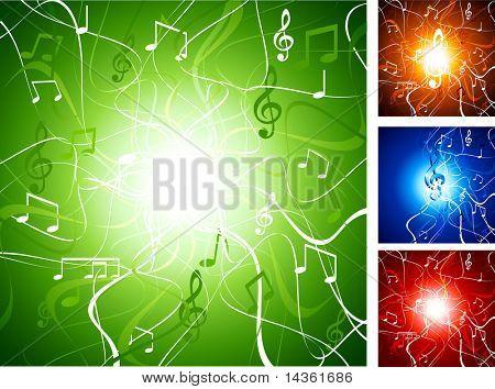 Luminous music backgrounds. Vector illustration.