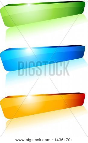 3d shiny buttons. Vector illustration.