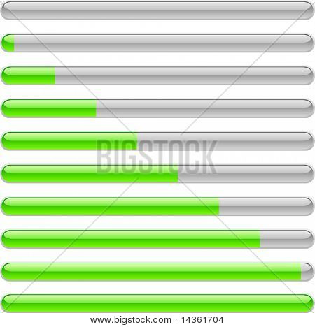 Green progress indicators. Vector illustration.