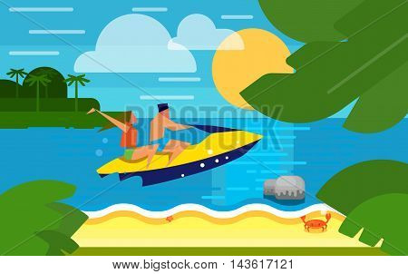 Summer banner vector illustration. Couple riding her yellow jet ski in the sea at sunset. Summer beach with sea crab, palm trees and sunset. Tropical scenery. Natural seascape. Extreme sea sports