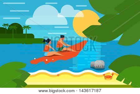 Summer banner vector illustration. People in life jackets on red banana boat. Summer beach with sea crab, palm trees and sunset. Tropical scenery. Natural seascape. Extreme sea sports. Summer time.
