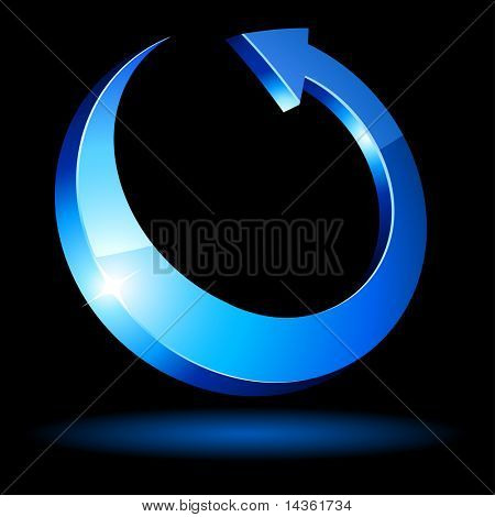 Blue luminous arrow. Vector illustration.
