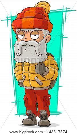 A vector illustration of cartoon old traveler in nylon jacket