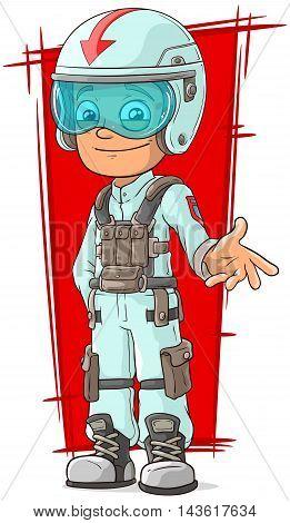 A vector illustration of cartoon racer in uniform with helmet