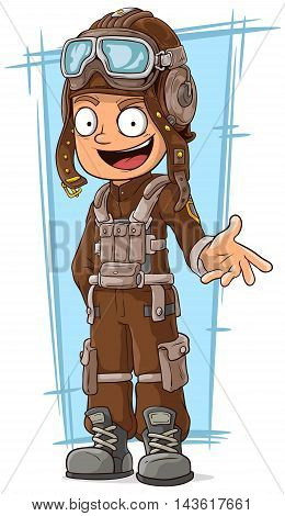 A vector illustration of cartoon retro pilot in leather uniform