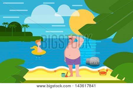 Summer banner vector illustration. Father with little son in swimming trunks on the beach. Family holiday. Summer beach with sea crab, palm trees and sunset. Tropical scenery. Natural seascape.