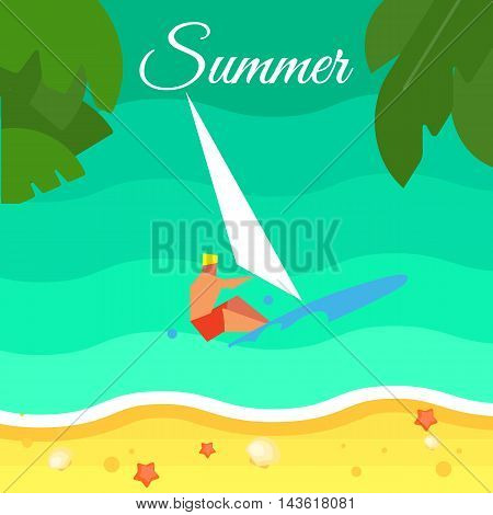 Summer background, vector illustration. Surfer riding on waves. Windsurfing concept. Sand beach with palm leaves and starfish. Natural landscape. Summer holidays. Beach activities. Sea time