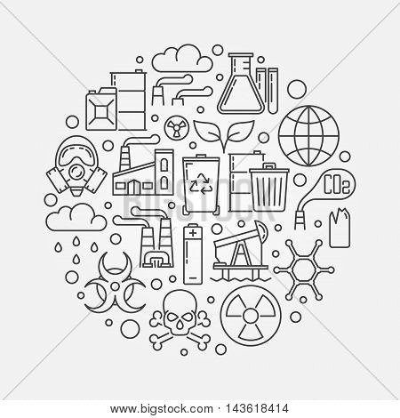Pollution outline illustration. Vector ecological disaster concept round symbol. Global environmental pollution sign in thin line style