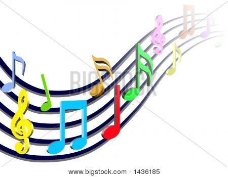 Bunte Musik Noten Illustration