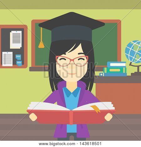 An asian graduate in graduation cap with an open book in hands. Young woman reading book on the background of classroom. Vector flat design illustration. Square layout.