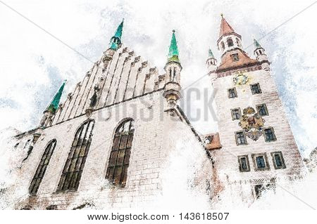 Old Town Hall Tower in Munich, Germany. Red roofs against cloudy sky. Beautiful Medieval architecture. Vintage painting, background illustration, beautiful picture, travel texture