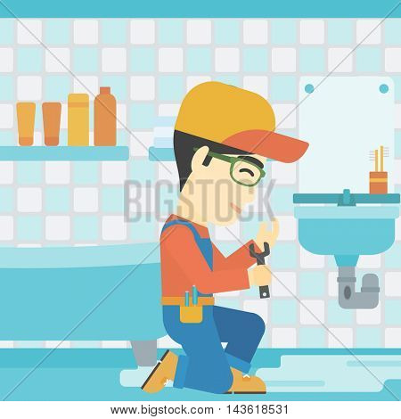 An asian plumber sitting in a bathroom and repairing sink pipe. Plumber with wrench repairing a broken sink in bathroom. Vector flat design illustration. Square layout.